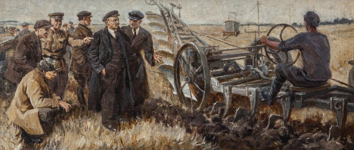 Картина «В.И. Ленин на испытании электроплуга «Фаулер» в октябре 1921 года»