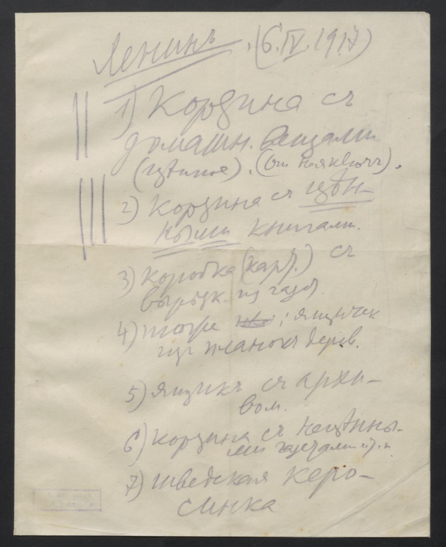 Опись личных вещей, составленная В.И.Лениным в Швейцарии перед отъездом в Россию.